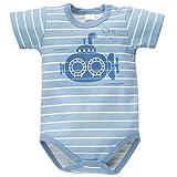 Pinokio - Sea World - Baby Kurzarmbody 100% Baumwolle, Blau Weiß gestreift U-Boot - Body- mit Druckknöpfen, Jungs, Jungen, maritim, gestreift Submarine (98)