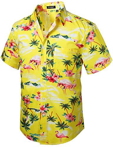 HISDERN Herren Funky Hawaiihemd Flamingo Gelb Unisex Kurzarm Vordertasche Urlaub Sommer Aloha Bedruckter Strand Beilaufig Hawaii Hemd S-2XL