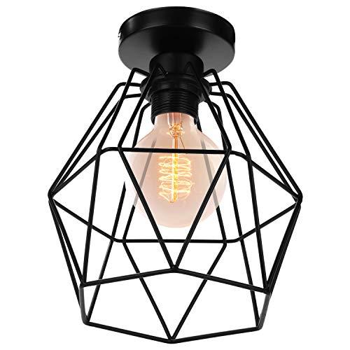 Pendelleuchte Retro Hängelampe Drahtleuchte,Retro E27 Lampenfassung Leuchtmittel Metall Lampenschirm Deckenlampe Semi-Flush Mount Pendelleuchte,Schwarz,200mm*200mm(Leuchtmittel nicht inklusive)