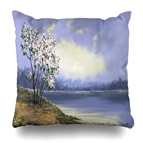 N\A Azul Digital Spring Flowers Nature Blossom Green Throw Pillow Fundas de colchón, Funda de Almohada Cuadrada Decorativa, es Funda de Almohada para Mujeres Hombres Niños