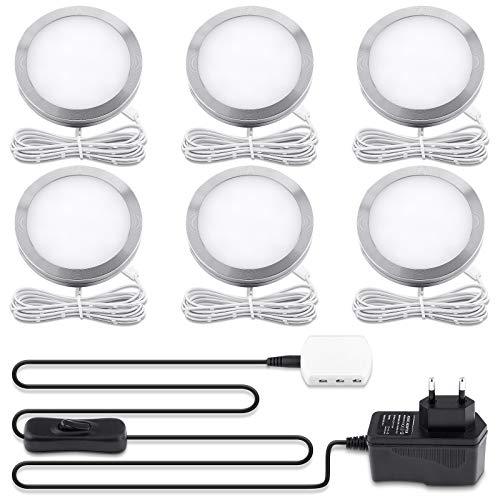 Lovebay LED Unterbauleuchten 6er Set Schrankleuchten, warmweiß Küchenlampen Vitrinenbeleuchtung Schrankbeleuchtung, LED beleuchtung für Wandleuchten, Treppe, Kleiderschrank, Weinschrank, 3000k