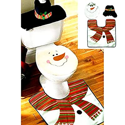 Samber Christmas Toilet Three-piece Set Santa Claus Toilet Seat Covers Bathroom Mat Tissue Box Cover Water Tank Cover Christmas Bathroom Decoration