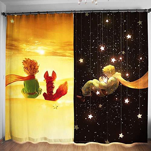 Vorhänge Kleine Prinz 3D Cartoon Anime Startseite Dekorative Blackout Isolierung Anti-UV-Noise Reduction Oesen Schlafzimmer Wohnzimmer Drapierung Hook up-2 Panel W 3M H 2.7M