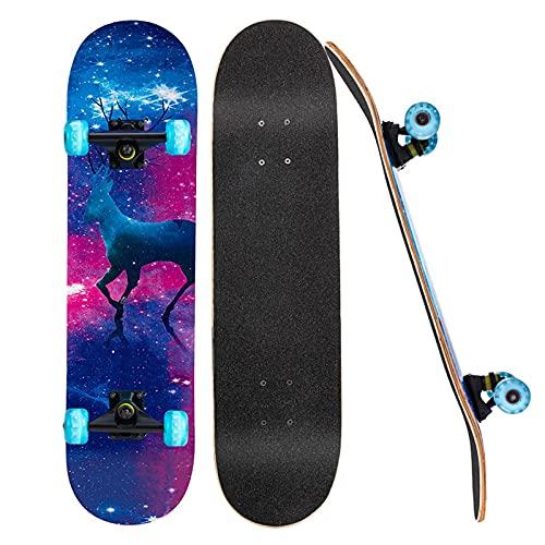 ZHBH Patinetas para Principiantes, Tablas de Skate Completas de 31'x 8' con Ruedas Luminosas LED, patinetas de Doble Cubierta de Arce Canadiense de 7 Capas para niños, Adolescentes, Adultos, CIE