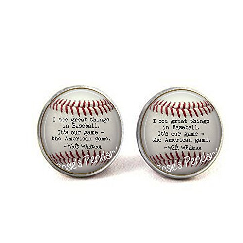 Unbekannt BAB Baseball Ohrringe, Zitat von Walt Whitman – Baseball Fan Geschenk – America's Pastime – Baseball Liebhaber Geschenk – Whitman Baseball