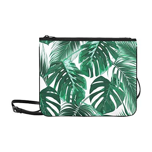 WYYWCY Tropische Palmblätter Dschungel verlässt nahtloses Muster benutzerdefinierte hochwertige Nylon dünne Clutch-Tasche Umhängetasche Umhängetasche