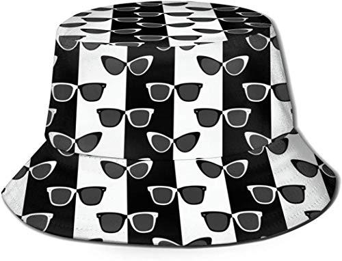 Negro Blanco Gafas de sol cubo con estampado unisex ovalado Sombreros de pescador pesca Gorra plegable reversible de verano Mujeres Hombres Sombrero para el sol al aire libre Viaje Campamento de playa