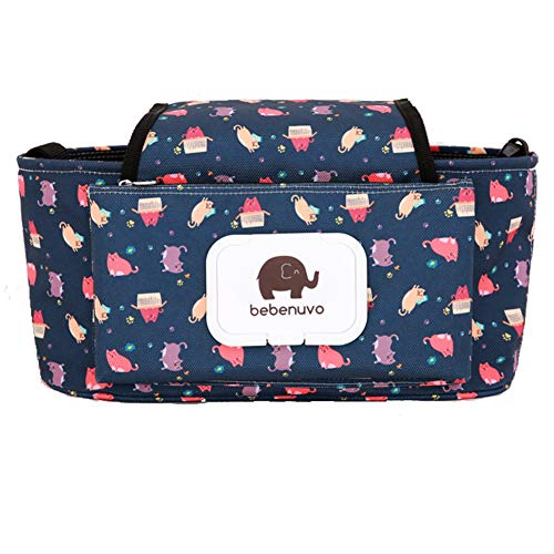 Poussette bébé universel Sac à langer Organisateur Porte-gobelet unique poussette bébé, grand sac de rangement Voyage pour transporter des bouteilles, jouets et collations, couches, etc. (Noir)