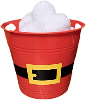 Indoor Snowball Fight Set of 20 Soft Plush Snowballs in Red Santa Bucket Carry Along