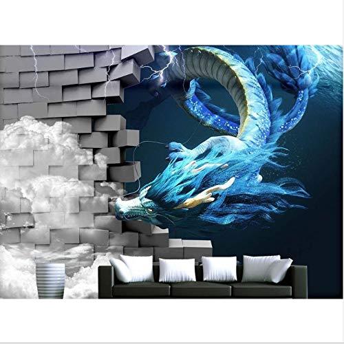 Zybnb 3D Fototapete Benutzerdefinierte Drachen Brechen Die Wand Foto-Wandtapete Für Kinderzimmer CartoonHintergrund Wand-200X140Cm