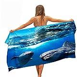 Surwin Toallas de Playa Microfibra, Saltar Delfín Impresión Grande Toalla de Playa Verano Secado Rápido Arena Antiadherente Absorbente Toalla para Viaje Nadar (Mar Olas,150x180cm)