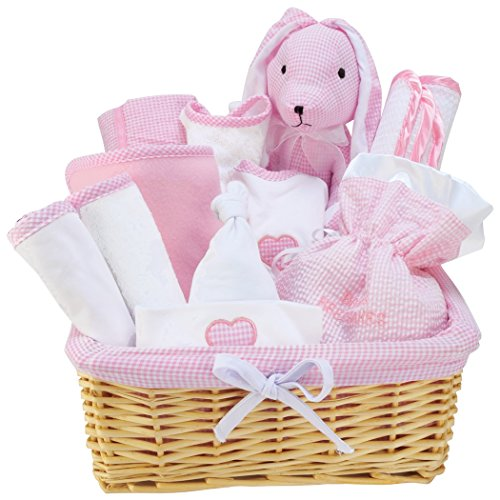 12 Piece Pink Deluxe Basket Gift Set