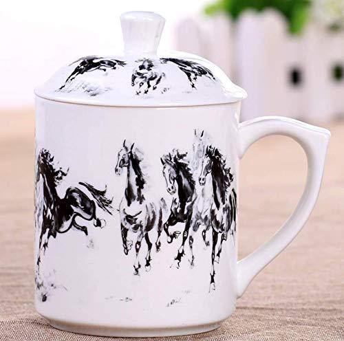 qnmbdgm bekerschaal keramiek beker Chinese gezondheid keramiek drinkbeker beker theekop met deksel bloem poeder handgeschilderd theekopje 375 ml koffiemelk creatief cadeau nieuw
