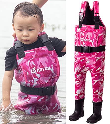 NEYGU Kinder 5 mm Neopren-Thermo- und wasserdichte Wathose mit Gummistiefeln, hält das Kind warm unter -31 °C, rosa Camouflage-Stil, 10T