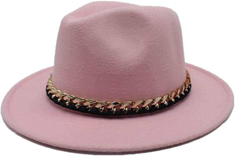 No-branded Men Women Wool Fedora Hat Travel Autumn Cloche Jazz Hat Wide Brim Church Hat Elegant Lady Fascinator Hat ZRZZUS (Color : Pink, Size : 56-58)