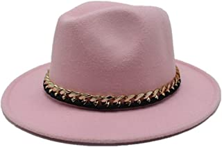 Hats Elegant Lady Fascinator Trilby Hat Men Women Wool Fedora Hat Travel Autumn Cloche Jazz Hat Wide Brim Church Hat Fashion (Color : Pink, Size : 56-58)