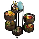 Cylindrical Rolling Cart Multi-Tier Metal Storage Shelving with Rotatable Hollow Basket for Narrow Spaces Movable Floor-Standing Baker Rack