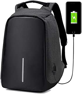 Anti-Theft Laptop Backpack Travel Bag Water Repellent w/USB Port Travel Busines (Black)