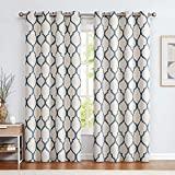 jinchan Curtains Moroccan Tile Printed Linen Textured Curtains Panels Room Darkening Bedroom Living Room Thermal Insulated Window Treatment Drapes 2 Panels 84' L Blue on Tan