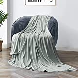 Avolare Cooling Blankets for Hot Sleepers, Double-Sided Throw Blanket for All Season, Japanese Arc-Chill Cooling Fiber & 100% Breathable Bamboo, Summer/Fall Blankets Soft for Bed/Couch-79×87'-Gray