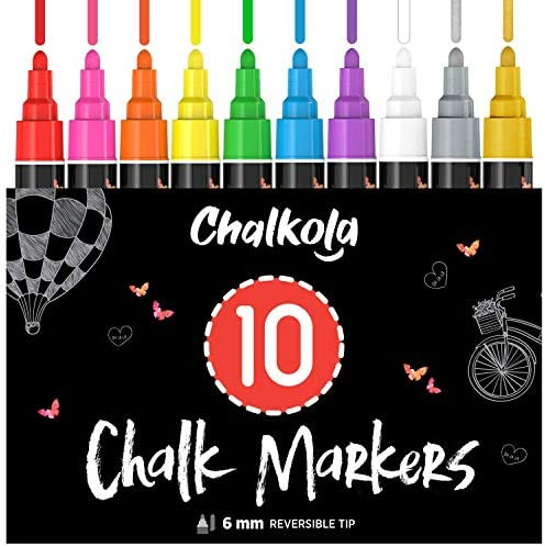 Liquid Chalk Markers 10 Pack with Gold Silver Bold Dry Erase Marker Pens for Blackboard Windows product image