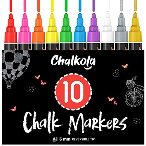 Liquid Chalk Markers (10 Pack) with Gold & Silver - Bold Dry Erase Marker Pens for Blackboard, Windows, Chalkboard Signs, Bistro - 6mm Reversible Tip - 50 Chalk Labels included