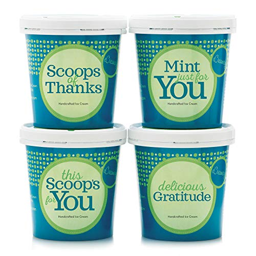 Thank You Ice Cream Gift Box - 4 Pack of premium eCreamery handcrafted ice cream shipped right to their door! - Perfect for hostess gifts, corporate gifts and employee recognition