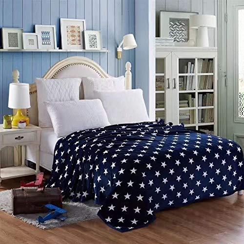 Decke,Blau Muster Und Sterne Drucktuch Dicke Plüschig-Weiche Sherpa Decke Büro Mittagspause Decke Geschenke Für Erwachsene Kind Freunde 120 * 200 cm