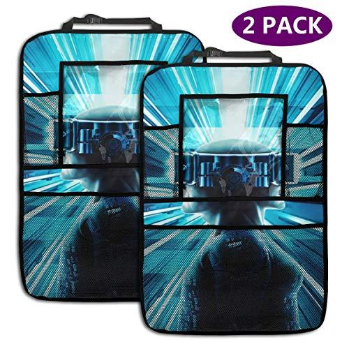 Auto Rückenlehnenschutz 2 Stück Auto Rücksitz Organizer für Kinder, Rücksitzschoner Mit/Tablet-Tasche, Kick-Matten-Schutz für Autositz Gamer Man Virtual Reality Twins