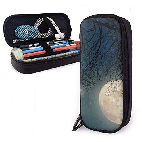 Pencil Case Pen Bag Milky Way Star Night Skies Ful Moon Old Tree Pencil Case, Large Capacity Pen Case Pencil Bag Stationery Pouch Pencil Holder Pouch with Big Compartments