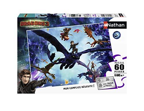 Nathan 4005556866311 - Puzzle, cascabeles, niños, niños, niños, juguetes, 3 años, dragones, krokmou, Harold, Viking (60 piezas) , color, modelo surtido