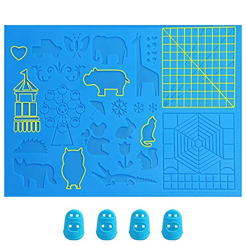 Otavic 3D Pen Mat, Large 3D Printing Pen Mat Silicone Design Basic Template 16.4 x 10.9 Inches with 4 Silicone Finger Caps, 3D Pens Drawing Tools Gift for 3D Beginners/Kids/Children/Adults