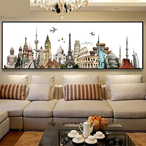 DIY 5D Diamond Painting by Numbers Kits Full Drill Símbolo de la ciudad de York París Londres 40x80cm Cuadrado Large Puzzle Paste Crystal Adults Kids Embroidery Diamond Art Home Wall Decor Q2388