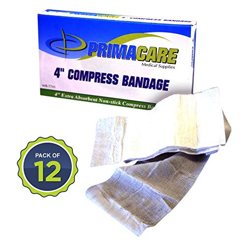 Primacare WB-7701-CS Sterile 4' Compress Bandage, 72' Length (Box of 12 Medical Gauze Bandage Rolls)