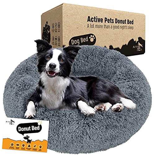 Active Pets Plush Calming Dog Bed, Donut Dog Bed for Small Dogs, Medium & Large, Anti Anxiety Dog Bed, Soft Fuzzy…