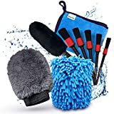 Onetrack Me Motorcycle Detailing Brush Kit- 6 Pack - Natural Boar Hair Brushes and Wool Cleaning Brushes for Motorcycle, Wheels, Rims, Polishing and Dusting