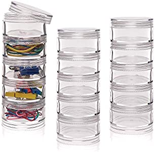 Baker Ross Botes apilables con tapa de rosca (Por 3 sets) Para guardar materiales de manualidades para niños
