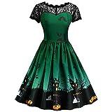 VEMOW Ausverkauf Angebote Frau Kostüm Mode Halloween A-Linie Spitze Kurzarm Party Casual Täglichen Vintage Kleid Abend Party Kleid(Grün, 34 DE/S CN)