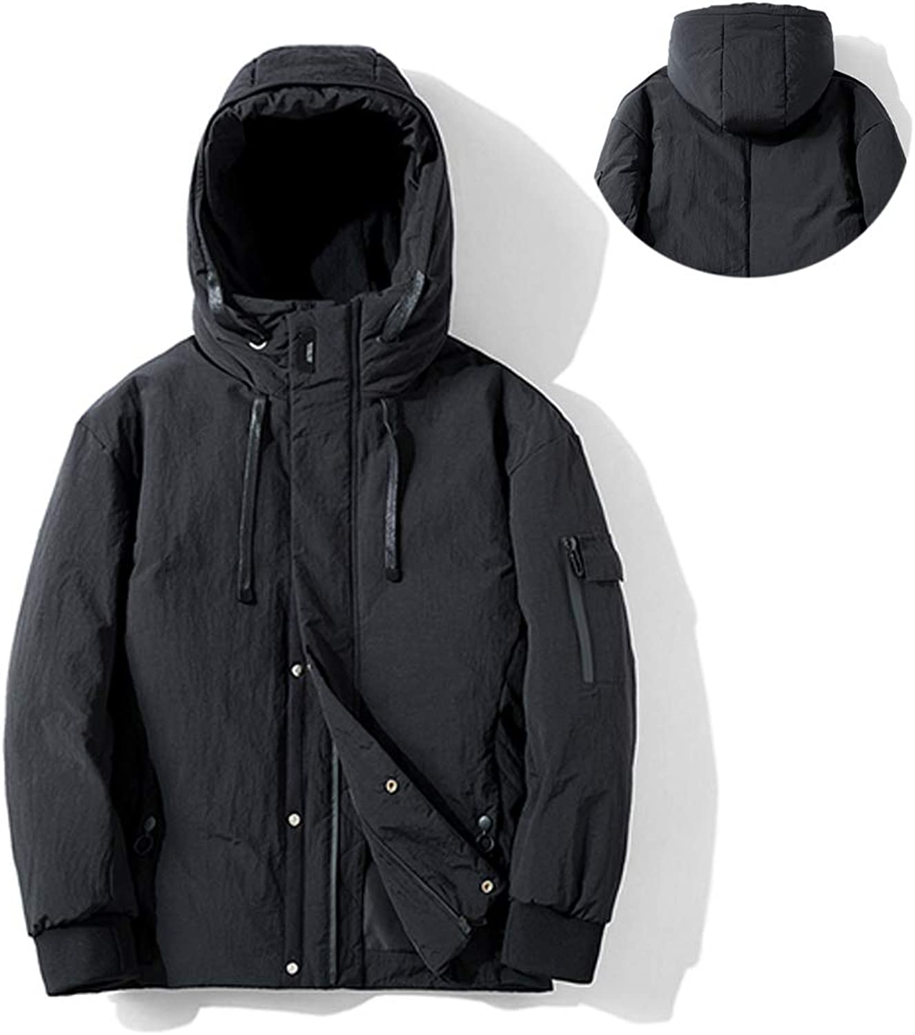 Men's Hooded Winter Jacket Waterproof and Windproof Wear Suitable for Casual Everyday Wear Outdoor Travel