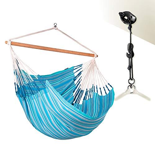 LA SIESTA Habana Azure - Organic Cotton Kingsize Hammock Chair with CasaMount Suspension Kit