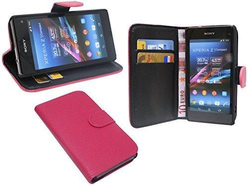 ENERGMiX Praktische Buch-Tasche kompatibel mit Sony Xperia Z1 Compact (D5503) in Pink Wallet Book-Style