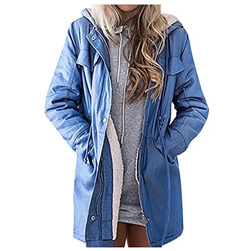 Mujeres Fuzzy Denim con capucha Outwear Warm Fleece Casual manga larga Jean Jacket Abrigo largo, azul claro, XXL