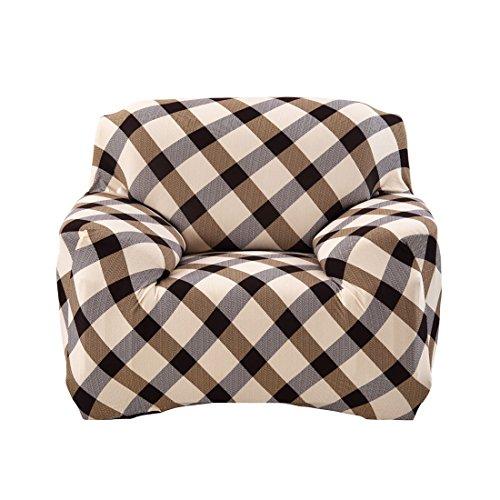 sourcingmap® Haushalt Polyester Plaid Muster Elastische Sofa Stuhl Abdeckung Schutz 90-140cm DE