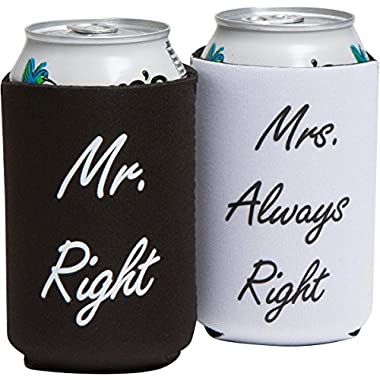 Funny Wedding Gifts - Mr. Right and Mrs. Always Right Novelty Can Coolers - Engagement Gift or Anniversary Gift for Newlyweds or Couples