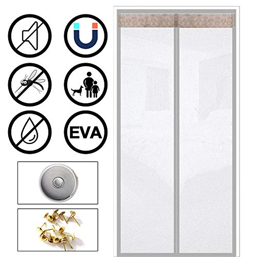 Amea Magnet Fliegengitter Tür, Eva Wärmedämmung Magnetvorhang Mit Klett, Balkon Schiebetüren Wohnzimmer Terrassentür,Grau,90×200cm