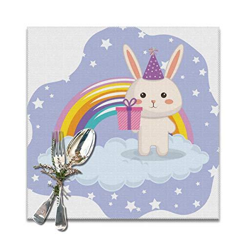 Placemats Placemat Eettafel Wasbaar Zacht En Crême Gratis Tafelmatten Leuke Konijn Met Regenboog Kawaii Verjaardagskaart (6 Stks) Gepersonaliseerd