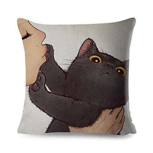 """Who-care - Funda de cojín con diseño de gato y texto en inglés \""""Love Kiss Cute Cat Line\"""" para sofá, hogar, coche, funda de almohada de 45 x 45 cm, 2, 450mm*450mm"""