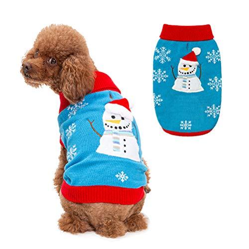 PAWCHIE Hundepullover mit Schneemann-Motiv, Weihnachtspullover, Winter, Rollkragen, Strickbekleidung für kleine bis große Hunde, S/M