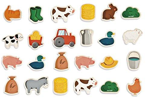 Janod - J08157 - Imanes de la granja de madera, 24 piezas, para niños a partir de 2 años