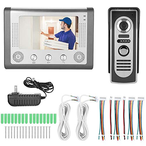 Qinlorgo 7 Pulgadas Inalámbrico/WiFi Smart IP Video Videoportero Sistema de intercomunicación Timbre de Entrada 2 Montior con Timbre con Cable Cámara Visión Nocturna(US Plug)